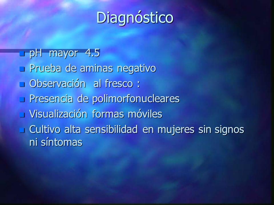 Diagnóstico pH mayor 4.5 Prueba de aminas negativo
