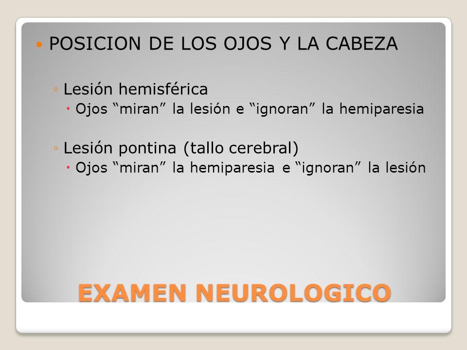 EXAMEN NEUROLOGICO POSICION DE LOS OJOS Y LA CABEZA Lesión hemisférica