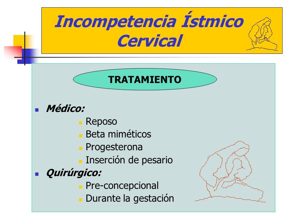 Médico: Reposo. Beta miméticos. Progesterona. Inserción de pesario. Quirúrgico: Pre-concepcional.