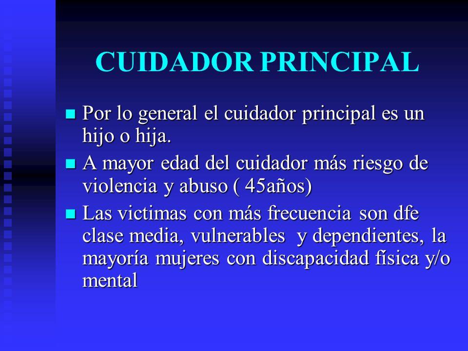 CUIDADOR PRINCIPAL Por lo general el cuidador principal es un hijo o hija. A mayor edad del cuidador más riesgo de violencia y abuso ( 45años)