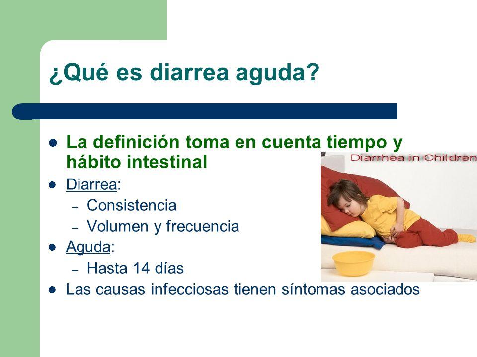 ¿Qué es diarrea aguda La definición toma en cuenta tiempo y hábito intestinal. Diarrea: Consistencia.