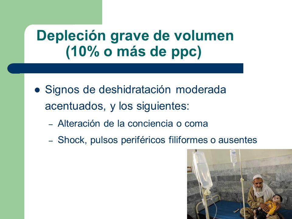 Depleción grave de volumen (10% o más de ppc)