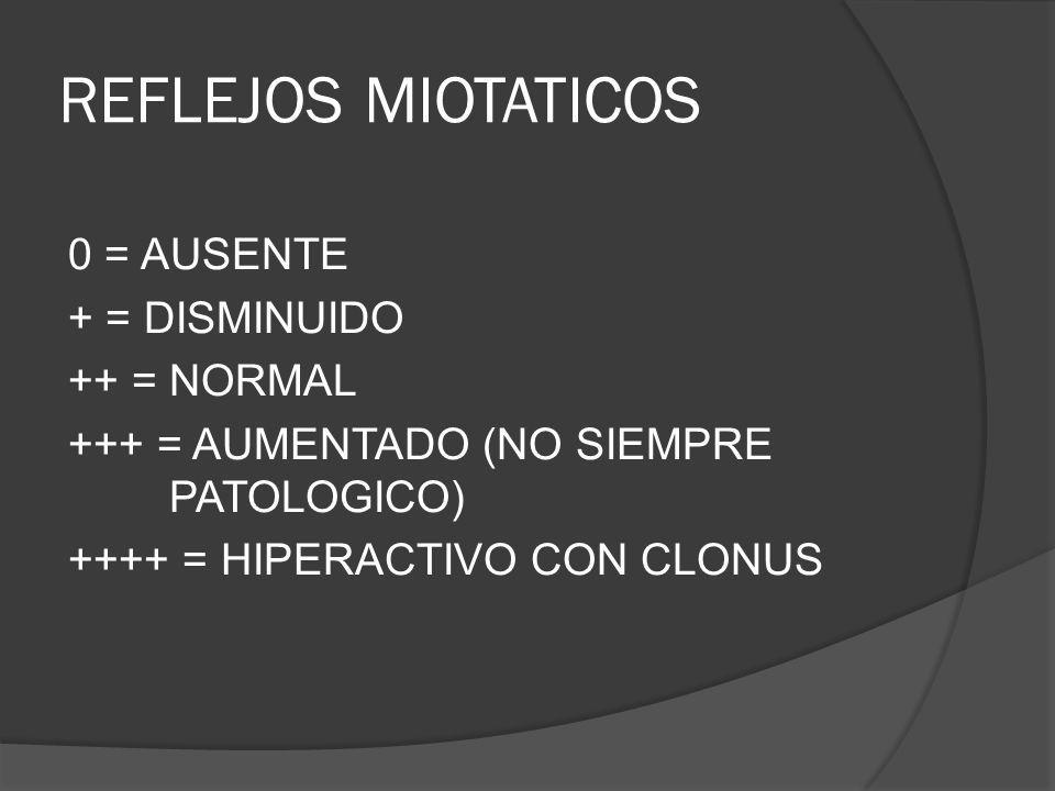 REFLEJOS MIOTATICOS 0 = AUSENTE + = DISMINUIDO ++ = NORMAL