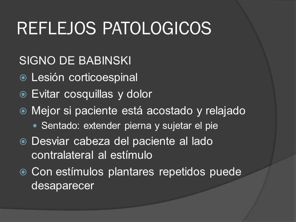 REFLEJOS PATOLOGICOS SIGNO DE BABINSKI Lesión corticoespinal