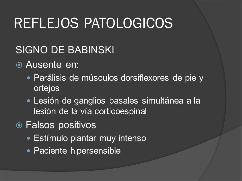 REFLEJOS PATOLOGICOS SIGNO DE BABINSKI Ausente en: Falsos positivos