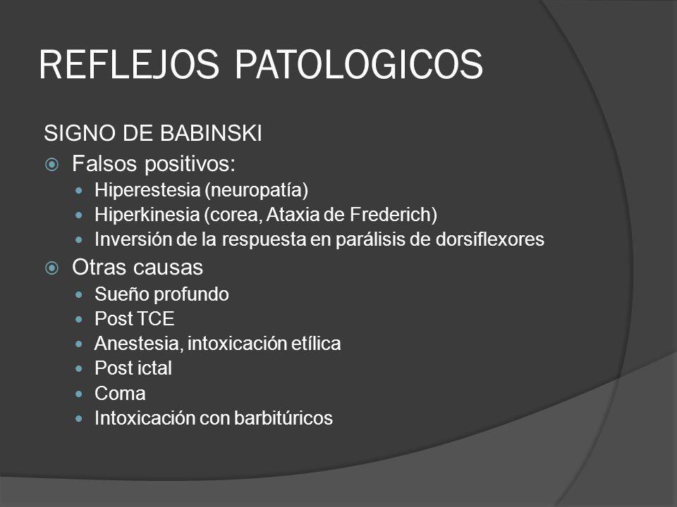 REFLEJOS PATOLOGICOS SIGNO DE BABINSKI Falsos positivos: Otras causas
