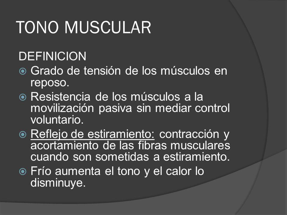 TONO MUSCULAR DEFINICION Grado de tensión de los músculos en reposo.