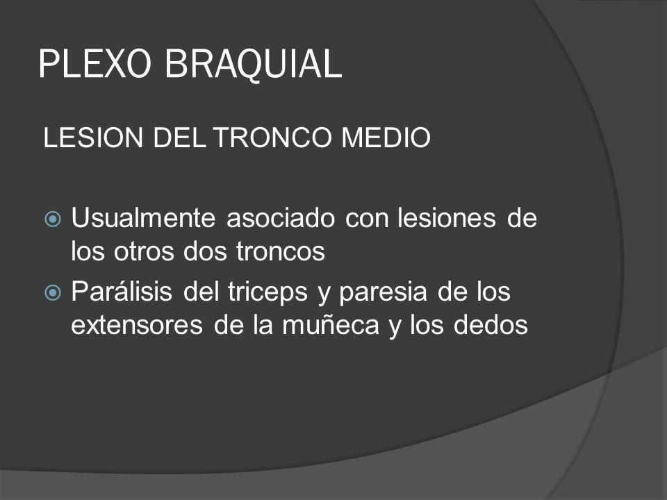 PLEXO BRAQUIAL LESION DEL TRONCO MEDIO