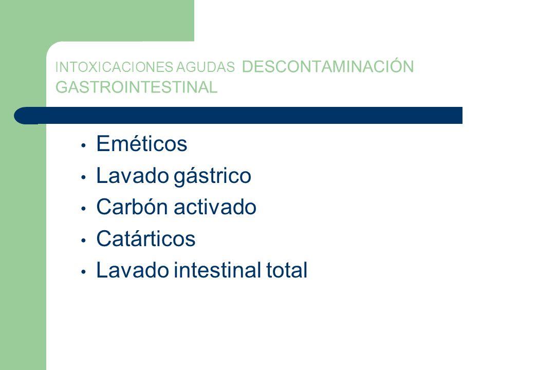 INTOXICACIONES AGUDAS DESCONTAMINACIÓN GASTROINTESTINAL