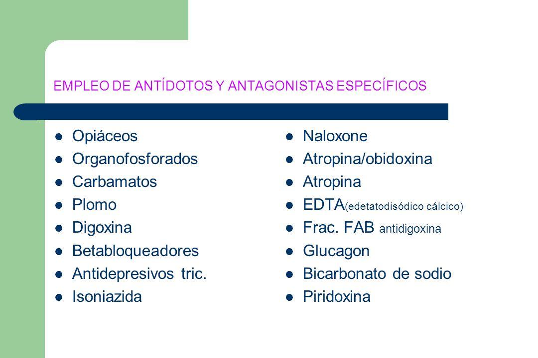 EMPLEO DE ANTÍDOTOS Y ANTAGONISTAS ESPECÍFICOS