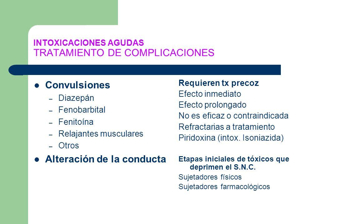 INTOXICACIONES AGUDAS TRATAMIENTO DE COMPLICACIONES