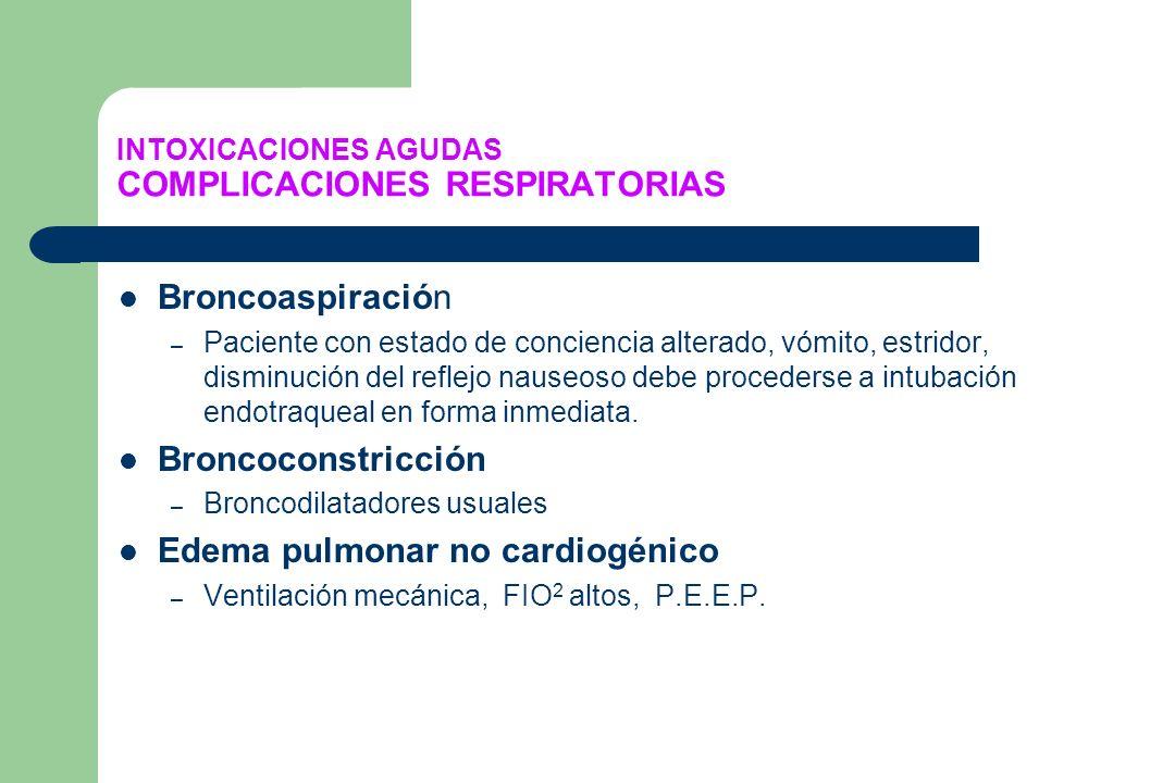 INTOXICACIONES AGUDAS COMPLICACIONES RESPIRATORIAS