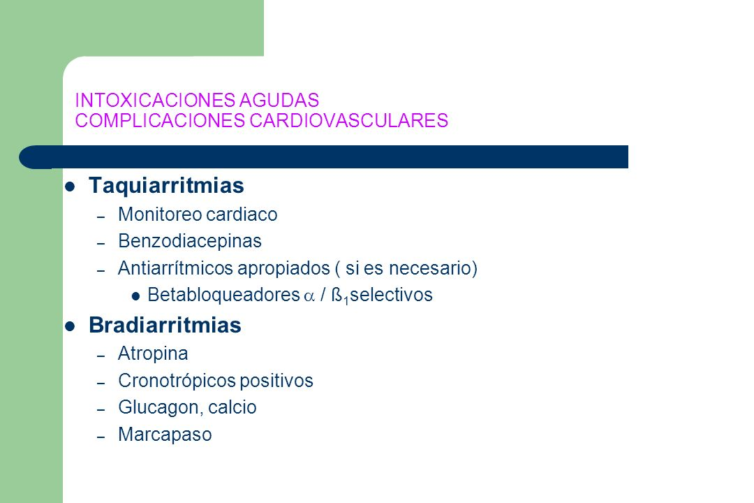 INTOXICACIONES AGUDAS COMPLICACIONES CARDIOVASCULARES