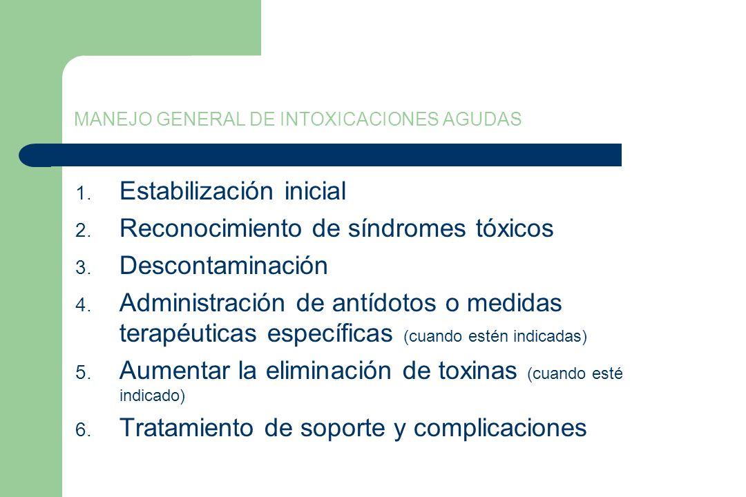 MANEJO GENERAL DE INTOXICACIONES AGUDAS