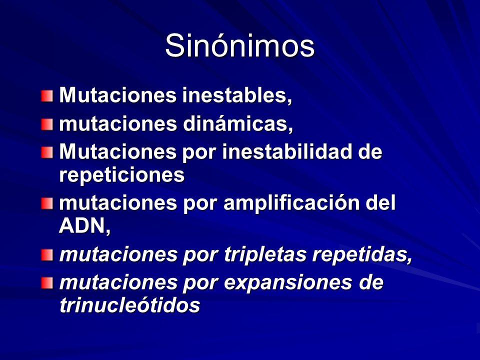 Sinónimos Mutaciones inestables, mutaciones dinámicas,