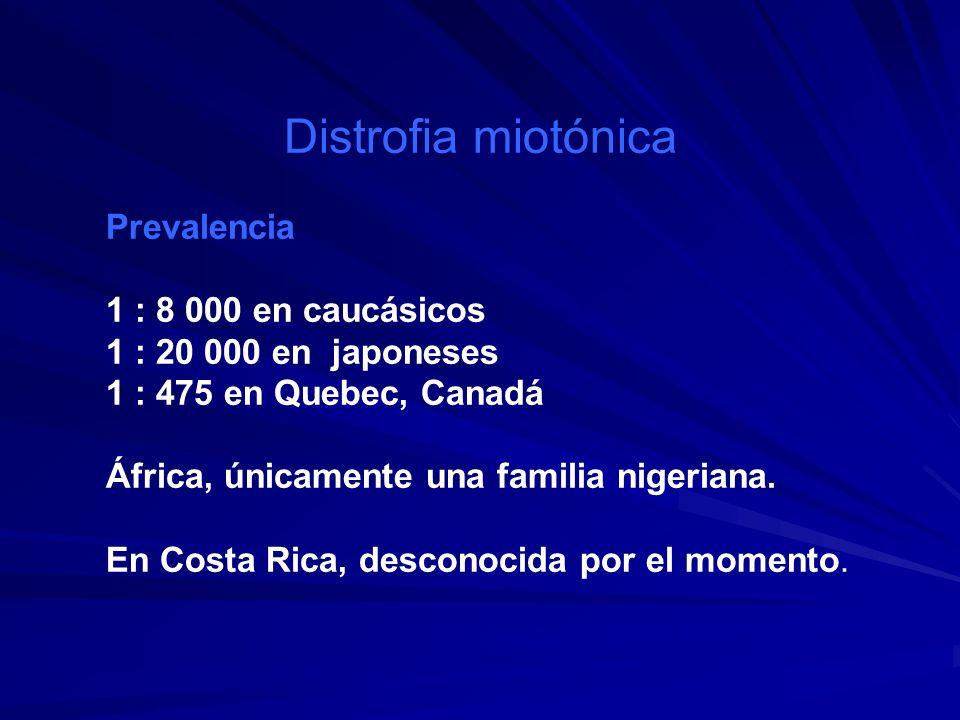 Distrofia miotónica Prevalencia 1 : 8 000 en caucásicos