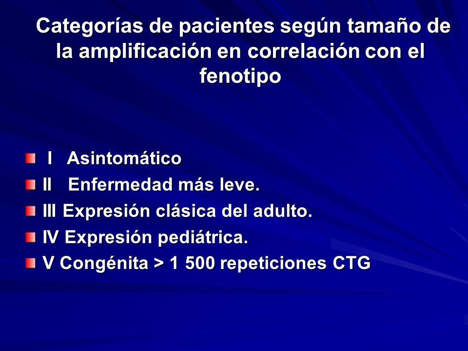 Categorías de pacientes según tamaño de la amplificación en correlación con el fenotipo