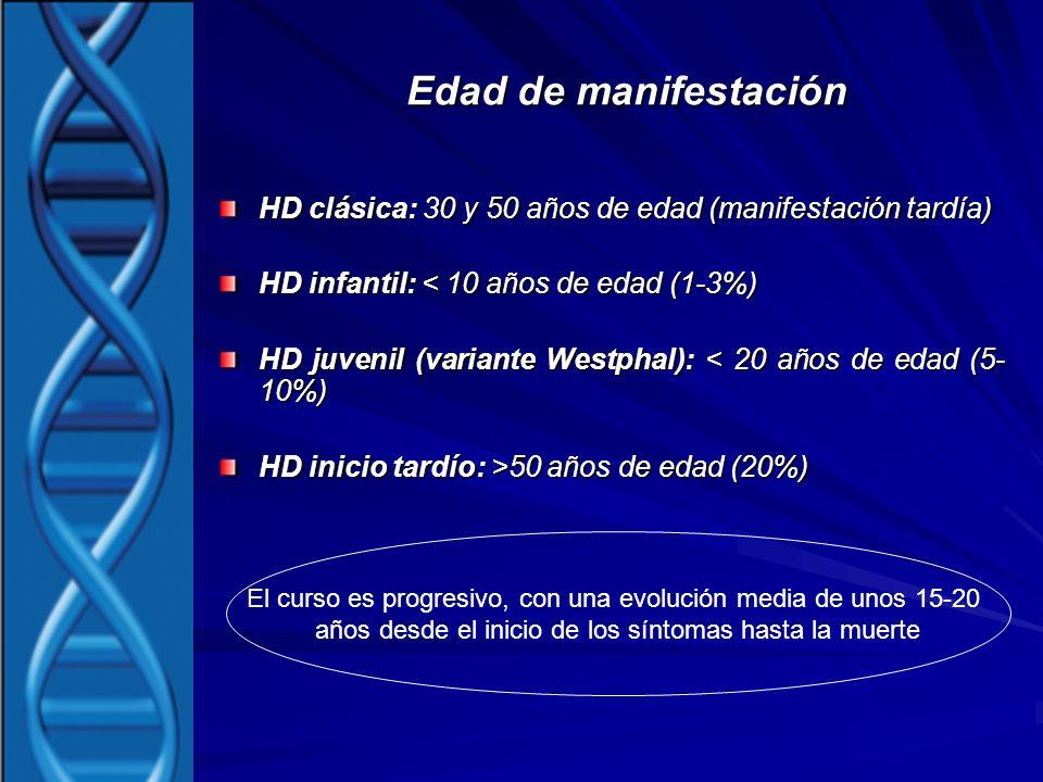 Edad de manifestación HD clásica: 30 y 50 años de edad (manifestación tardía) HD infantil: < 10 años de edad (1-3%)