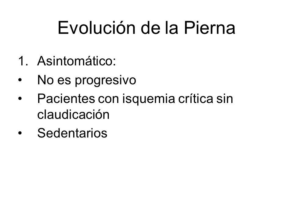 Evolución de la Pierna Asintomático: No es progresivo