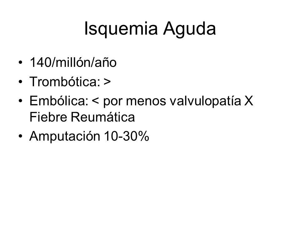 Isquemia Aguda 140/millón/año Trombótica: >