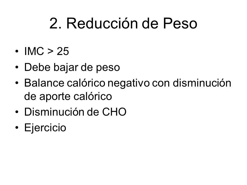 2. Reducción de Peso IMC > 25 Debe bajar de peso