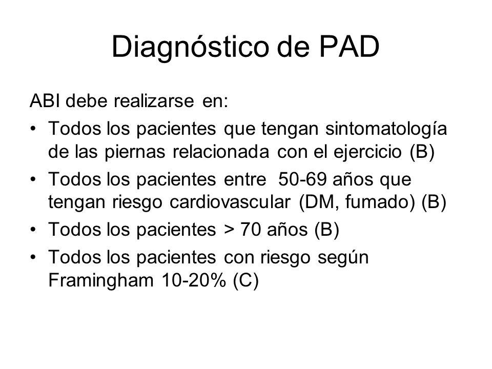 Diagnóstico de PAD ABI debe realizarse en:
