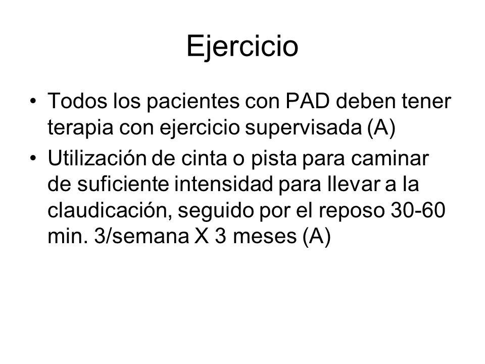 EjercicioTodos los pacientes con PAD deben tener terapia con ejercicio supervisada (A)