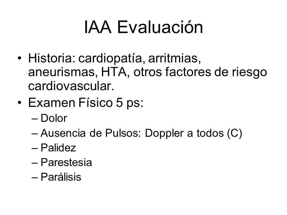 IAA EvaluaciónHistoria: cardiopatía, arritmias, aneurismas, HTA, otros factores de riesgo cardiovascular.