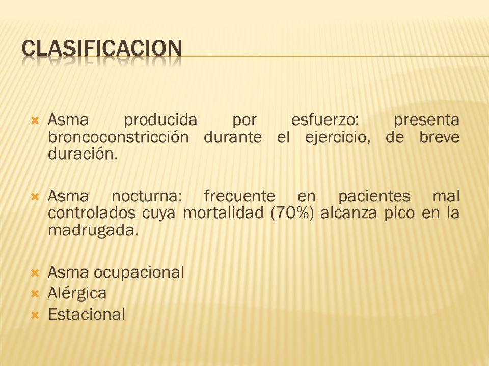 CLASIFICACION Asma producida por esfuerzo: presenta broncoconstricción durante el ejercicio, de breve duración.