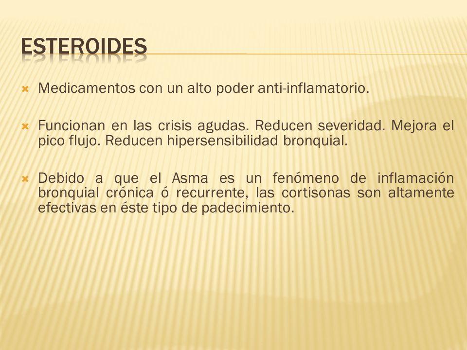 ESTEROIDES Medicamentos con un alto poder anti-inflamatorio.