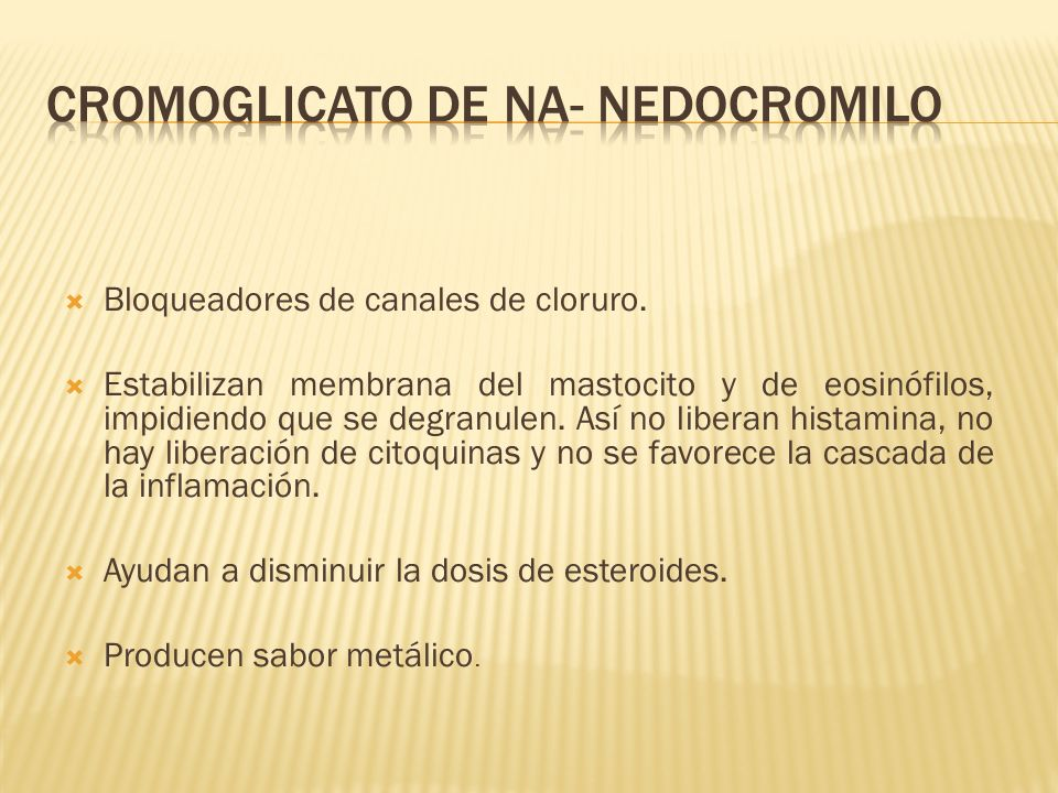 Cromoglicato de Na- Nedocromilo