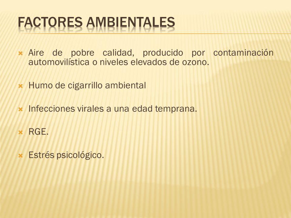 FACTORES AMBIENTALES Aire de pobre calidad, producido por contaminación automovilística o niveles elevados de ozono.