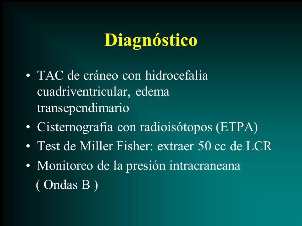 Diagnóstico TAC de cráneo con hidrocefalia cuadriventricular, edema transependimario. Cisternografía con radioisótopos (ETPA)