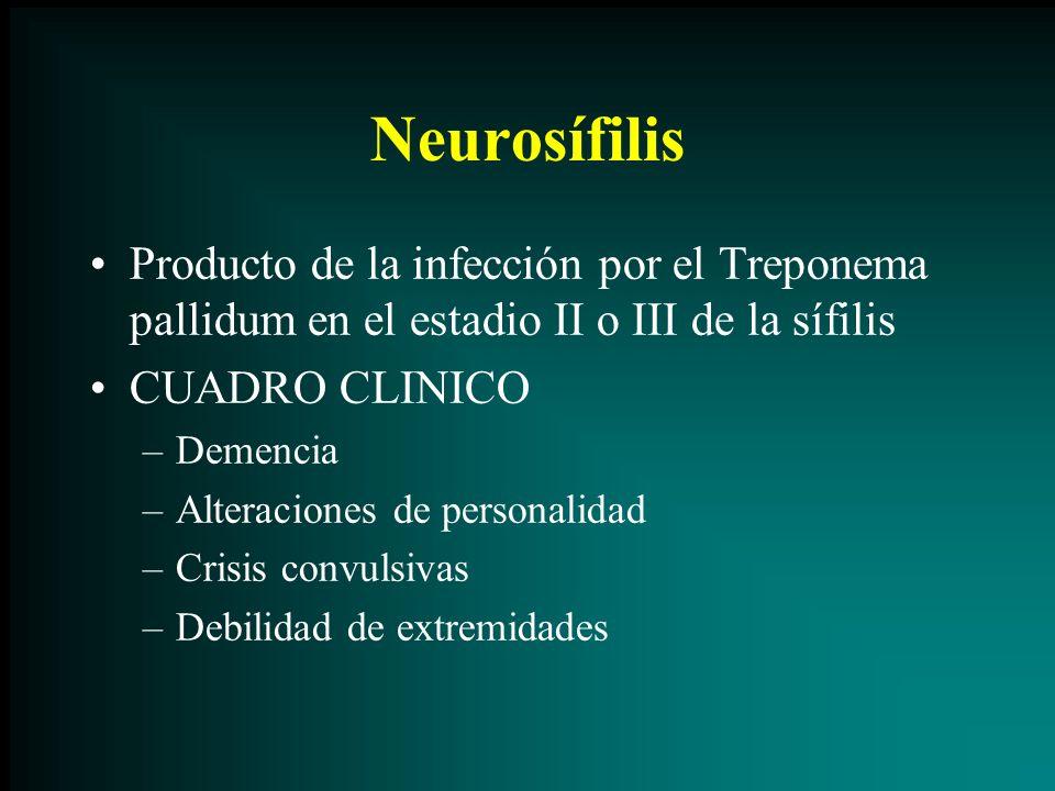 Neurosífilis Producto de la infección por el Treponema pallidum en el estadio II o III de la sífilis.