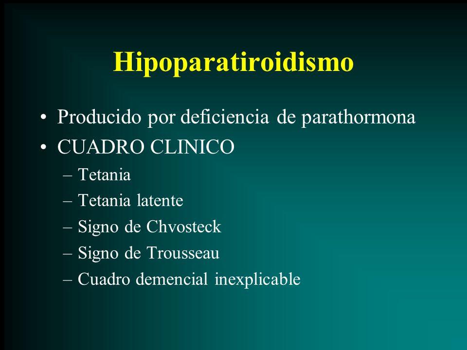 Hipoparatiroidismo Producido por deficiencia de parathormona