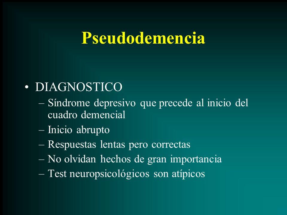 Pseudodemencia DIAGNOSTICO