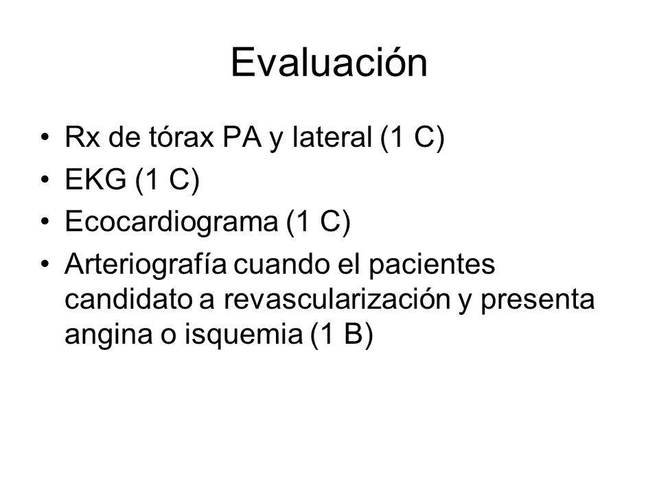 Evaluación Rx de tórax PA y lateral (1 C) EKG (1 C)