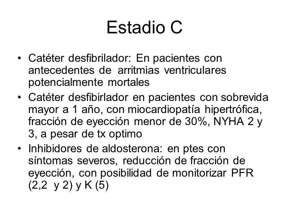 Estadio C Catéter desfibrilador: En pacientes con antecedentes de arritmias ventriculares potencialmente mortales.