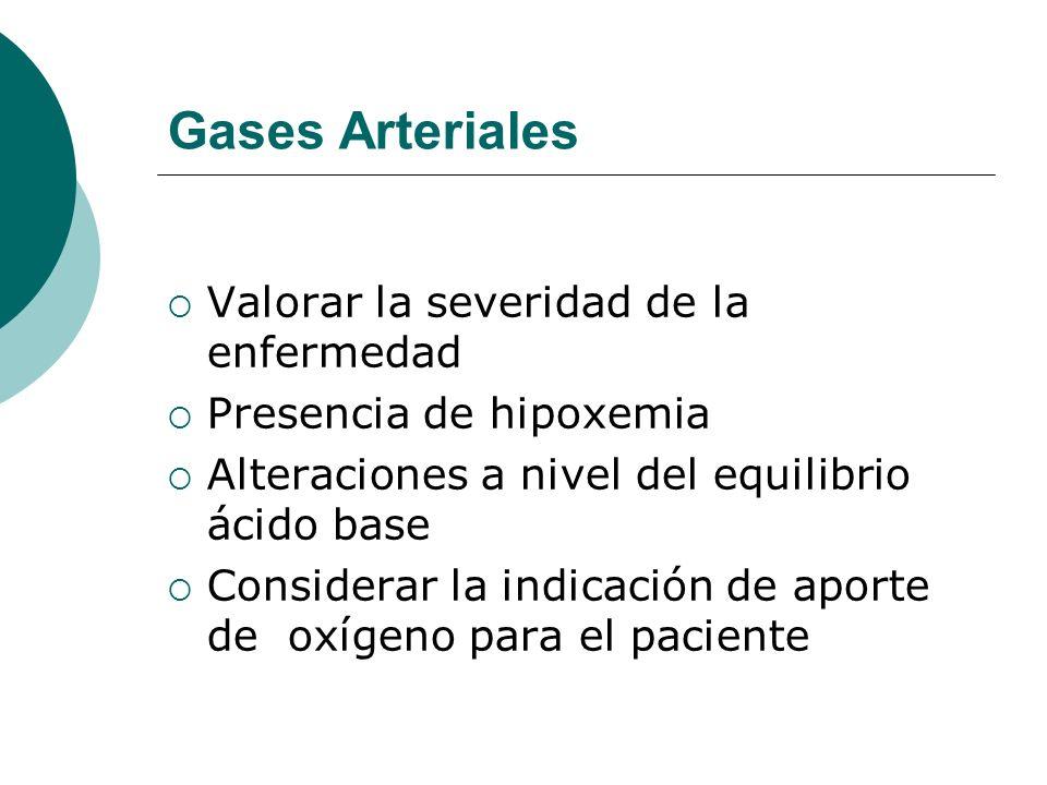 Gases Arteriales Valorar la severidad de la enfermedad