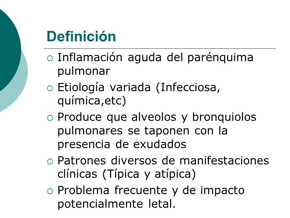 Definición Inflamación aguda del parénquima pulmonar