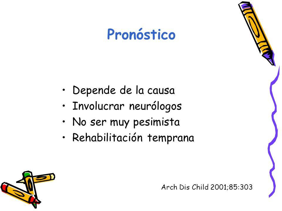 Pronóstico Depende de la causa Involucrar neurólogos