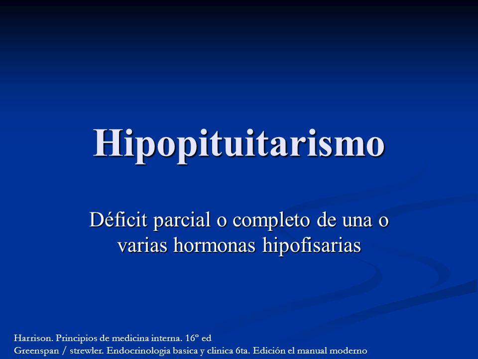 Déficit parcial o completo de una o varias hormonas hipofisarias