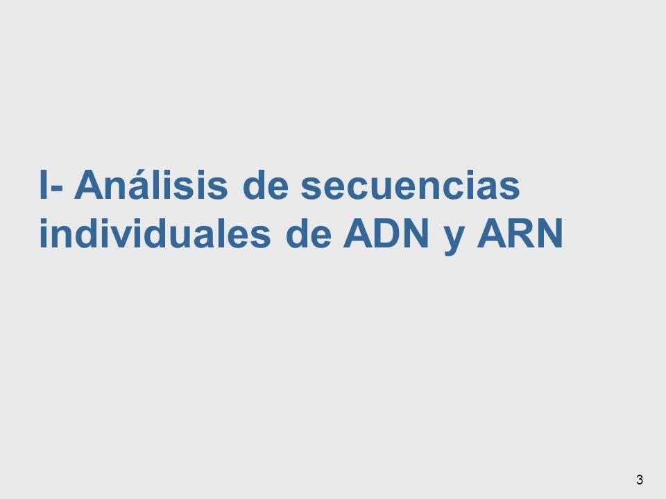 I- Análisis de secuencias individuales de ADN y ARN