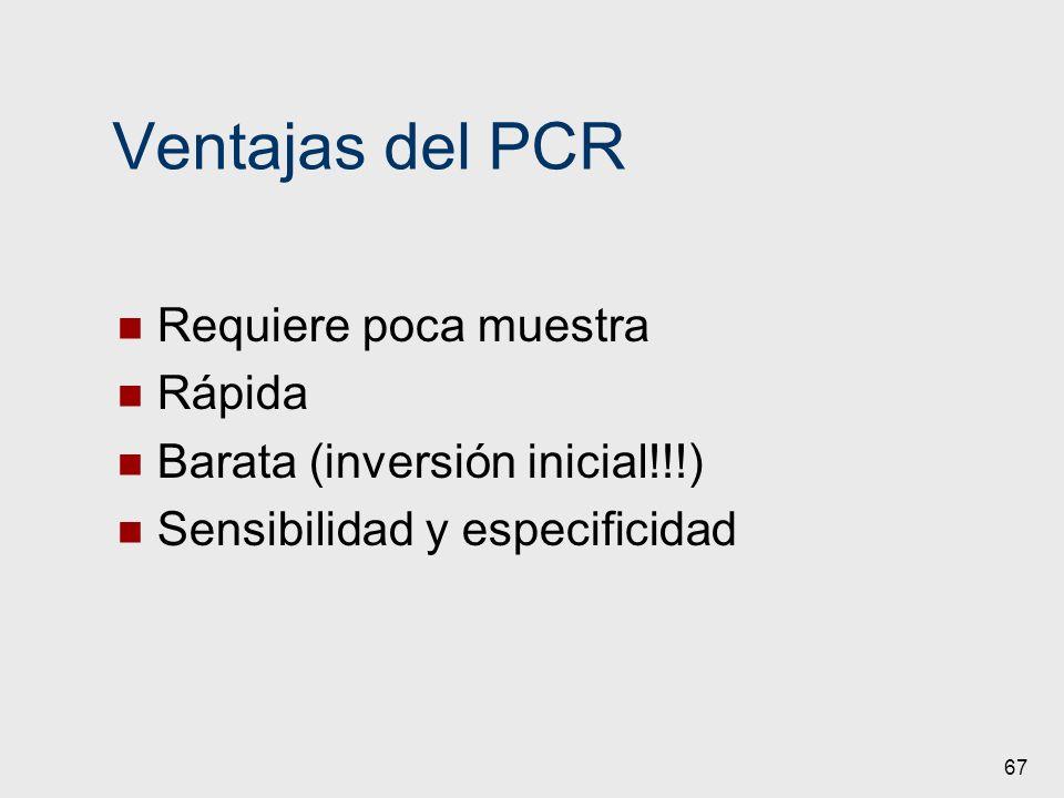 Ventajas del PCR Requiere poca muestra Rápida