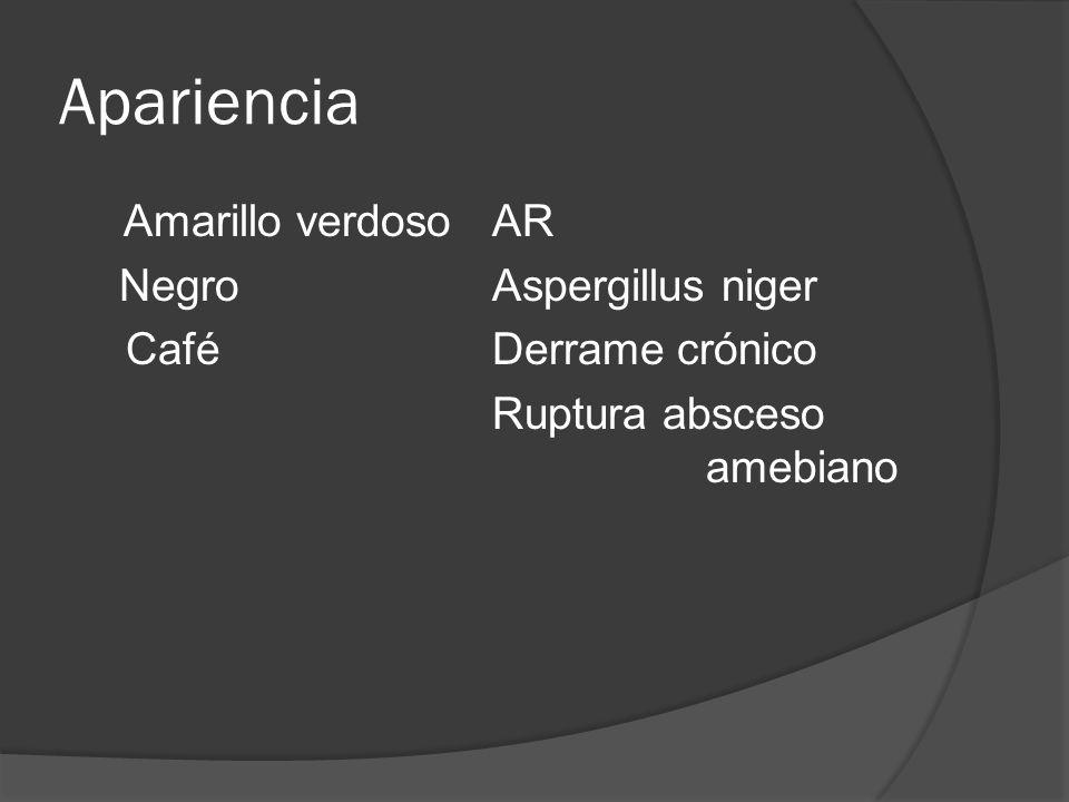 Apariencia Amarillo verdoso AR Negro Aspergillus niger Café Derrame crónico Ruptura absceso amebiano