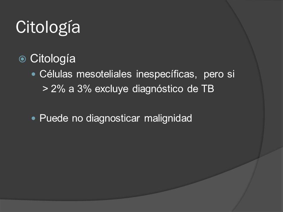 Citología Citología Células mesoteliales inespecíficas, pero si