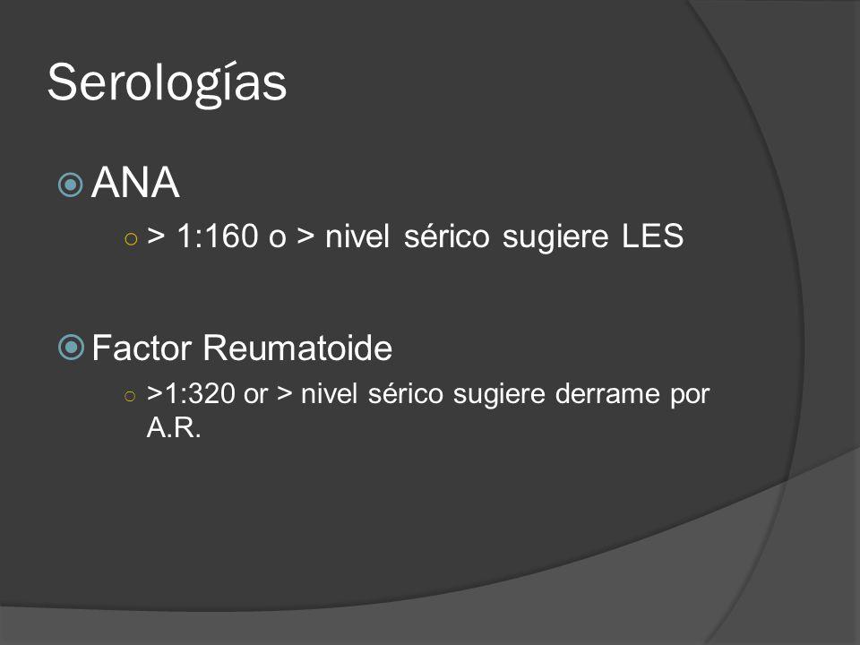 Serologías ANA Factor Reumatoide