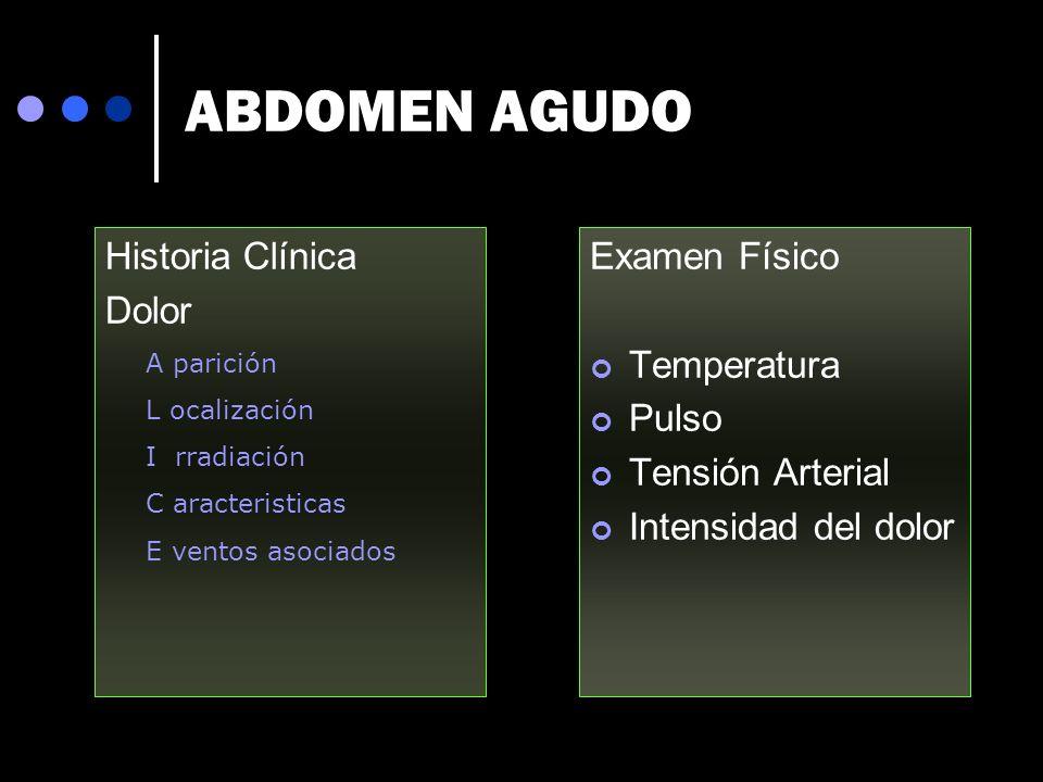 ABDOMEN AGUDO Historia Clínica Dolor Examen Físico Temperatura Pulso