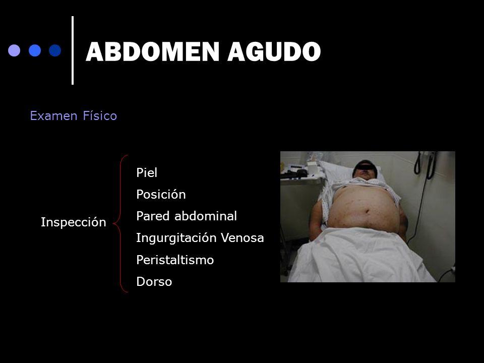ABDOMEN AGUDO Examen Físico Piel Posición Pared abdominal