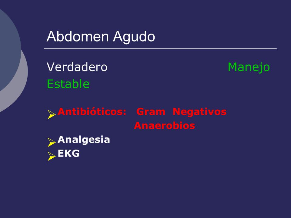 Antibióticos: Gram Negativos Anaerobios Analgesia EKG
